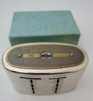 Vintage Bridgeport People's Savings Bank The Traveling Teller Coin Bank WITH KEY