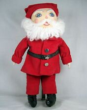 Handmade Soft Santa hand-painted face blue eyes red coat &hat yarn beard 16.5""