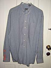 JOS A BANK Lg Sl Navy White Check Button Down 1 Pocket 100% Cotton Shirt XL