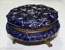 Antik gros kabinett dose aus porzellan bleu von vier? Sevres? und Fuß bronze