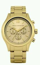 French Connection Quartz Watch Gold Dial Chronograph FC1144GM