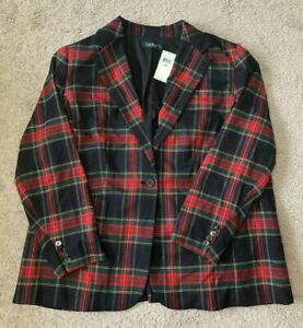 NWT Ralph Lauren Tartan Plaid One Button Blazer Jacket Multi Color Plus Size 20W