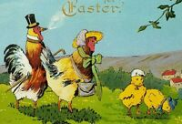 Easter Anthropomorphic Chicken Hen Rooster Chicks In Field Embossed Circa 1912