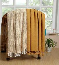 100% Cotton Chevron Soft All Season Throws Blankets 50x60 Inch Set of 2 - Yellow