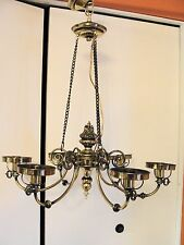 Vintage Stiffel 6-Light Chandelier Ceiling Light Fixture 3-Chain Brass Hanging