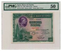 SPAIN banknote 500 Pesetas 1928 PMG AU 50 About Uncirculated grade