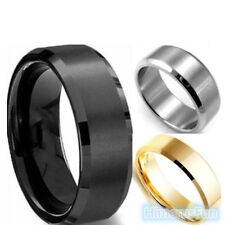 8MM Stainless Steel Ring Band Titanium Silver Black Gold Men SZ 7 to 12 Wedding