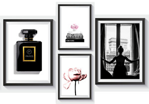 Set of 4 Fashion Vogue Designer Wall Art Bedroom Print Home Posters Deco Gift S8