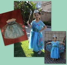 NEW FROZEN FEVER INSPIRED QUEEN ELSA BIRTHDAY PARTY DRESS Size 7/8 Anna