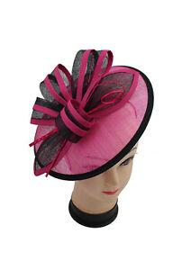 Ladies Day Royal Ascot Hot Pink Fuschia Fascinator Wedding Hat Headband Clip UK
