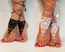 Shoes Beachwear Wedding Anklet Boho Barefoot Sandals White Crochet Foot Bracelet