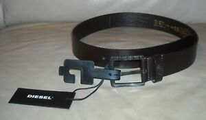 NWT Men's Diesel Leather Belt  Size 34 ( 85cm ) Color Dark Brown Made in Italy