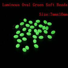 300pcs 7*10mm Oval Luminous Glow Soft Fishing Beads Lumo Green