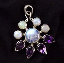 Opal  Moonstone Amethyst Pendant Sterling Silver .925 Cabochon Sunburst