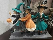 Halloween Trio Witches Marching Figurine Sculpture Prop Tabletop Decor NEW