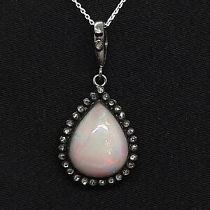 Antique 12.60ctw Old Rose Cut F-SI Diamond & Opal Silver Pendant 3.5g
