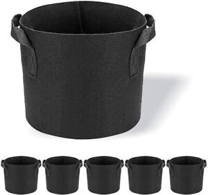 5 Plant Grow Bags Fabric Pot Nursery Soil Bag Thickened Nonwoven with Handles
