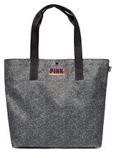 NEW VICTORIA'S SECRET PINK LARGE Black/ Grey MARLED WEEKENDER TOTE BAG SHOPPER