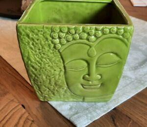 Blumen Topf BUDDA Buddha Keramik Grün Deko Asia 12,5 cm Höhe Übertopf