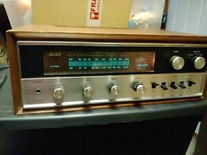 VINTAGE ALLIED 435 SOLID STATE STEREO RECEIVER with wood shell needs tlc retro