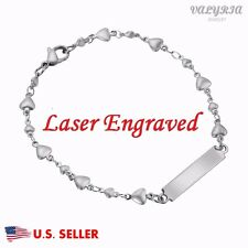 Engraved Personalized Silver Women's Medical Alert ID Bracelet Heart Chain 8.3''
