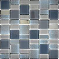 Glasmosaik grau Fliesenspiegel Küche Wandverkleidung Bad WC 68-0213G | 10 Matten
