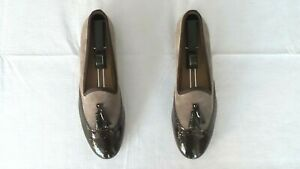 NEW! $365 Del Toro Suede & Patent Leather Tassel Slippers Loafers Shoe Stubbs 10