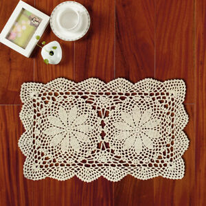 Ecru Vintage Hand Crochet Lace Doily Floral Pattern 10x17inch Rectangle Wedding