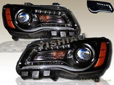 11 12 13 14 Chrysler 300 LED Bar Projector Headlights Black NEW PAIR