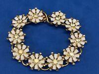 "Vintage Coro 7"" Gold tone Enamel rhinestone accent flower bracelet"