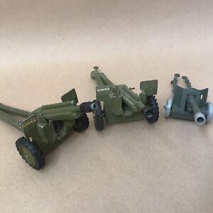 Vintage Dinky Toys Die Cast Vehicle - Military WW2 Job Lot Cannon Battle Guns