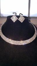 JOBLOT 12 PIEZAS conjuntos de Diamante - 3 pendientes de Fila Gargantilla & Boda Graduación al por mayor