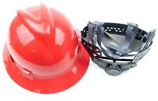 Msa 475371 V Gard Fas Trac Iii Hard Hat Full Brim With Ratchet Red Suspension