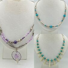 3 Navajo Liquid Sterling Silver Turquoise Necklaces Native American