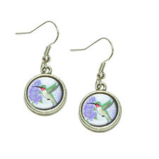 Hummingbird with Hydrangeas Dangling Drop Charm Earrings