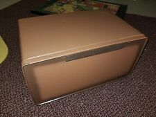 Vintage Pressed Steel Hinged Bread Box Ocher Red Brown Shelf Vent Magnetic Close