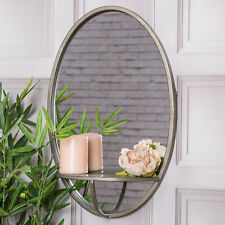 Oval Wall Mounted Mirror With Shelf Rustic Industrial Living Hallway Home Decor