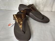 New FitFlop Women Size 8 Electra Sequin Bronze Brown Flip Flops Sandals Thongs