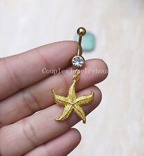 2pcs Gold starfish belly button ring Navel Piercing Dangle Belly Ring Jewelry