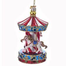 """Noble Gems Carnival CAROUSEL Glass Christmas Ornament, 4.5"""" Tall, by Kurt Adler"""