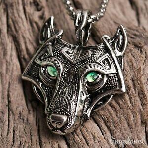 Viking Fenrir Wolf Head Necklace Pendant Green Eyes Norse Celtic