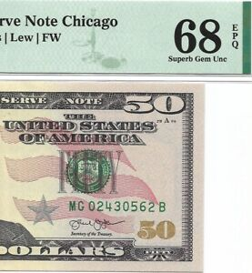 2013 $50 CHICAGO FRN, PMG SUPERB GEM UNCIRCULATED 68 EPQ BANKNOTE