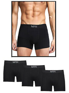 3 PACK MENS BLACK HIPSTER TRUNKS BY BOOHOO MAN BRANDED WAIST SIZES S M L COTTON