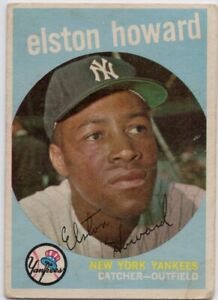 1959 Topps #395 Elston Howard Low Grade Stain New York Yankees FREE SHIPPING