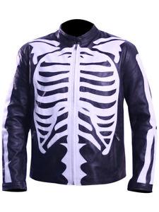 Zai/'s Handmade Halloween Cosplay Skeleton Bones Leather Jacket