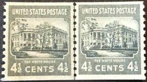 Scott #844 1939 4-1/2c White House Presidential Series Line Pair MNH OG