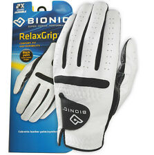 "6 X Bionic Relax Grip Golf Glove - Mens Black Leather Palm ""looks Newer Longer"" Medium Large Left Hand (for Right Handed Golfers)"