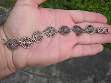 ANTIQUE VINTAGE STERLING SILVER WESTERN OLD WEST WAGON WHEEL MOTIF BRACELET