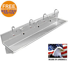 """Hand Sink 4 Users Multistation 96"""" Wash Up Electronic Faucet Stainless Steel"""