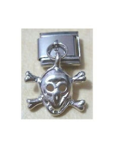 Italian Charms Dangle Charm D11 Skull and Crossbones Fits Classic Size Bracelet